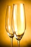 Due vetri vuoti di champagne fotografia stock libera da diritti