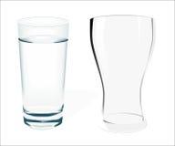 Due vetri vuoti su fondo bianco Fotografia Stock Libera da Diritti