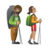 Due viandanti e viaggiatori con zaino e sacco a pelo Trekking, facendo un'escursione, viaggio rampicante illustrazione di stock