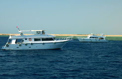 Due yacht del motore immagini stock