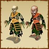 Due zombie asiatici nei costumi tradizionali degli stracci illustrazione di stock
