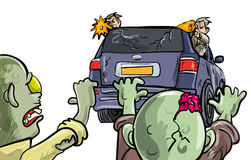 Allontanandosi dalle zombie in un'automobile Fotografie Stock Libere da Diritti