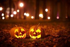 Due zucche gentili di Halloween nel parco Immagini Stock