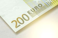 Duecento euro Euro 200 con una nota Euro 200 Immagini Stock
