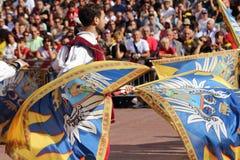 Duel golden. Competition between flag wavers Stock Photos