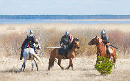 Duel of horse knights Stock Photo