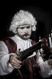 Duel between knights, gentleman rococo era wig Royalty Free Stock Photos