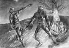 Duel at the Night Fire. Black and white hand drawn sketch. Two half-naked warriors fight, one has a knife in his hand, another has an axe Royalty Free Stock Image