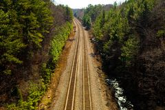 Duel Tracks. A duel set of railroad tracks to take you on the long way to somewhere Royalty Free Stock Photos