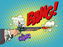 Duel shot pistol. Pop art retro style. Antique weapons. The nobles honor offense aristocracy. Murder bang clinc Stock Images