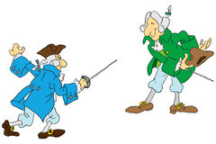 Duel with swords. Two men of the 18th century are preparing for a duel with swords Vector illustration. Cartoon royalty free illustration