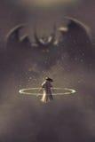 Duel tussen ridder en duivel royalty-vrije illustratie