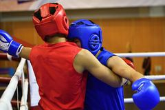 The duel of two boxers Royalty Free Stock Photo