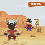 Duel between two guys, characters of the wild West Royalty Free Stock Photo