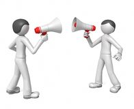 Duel. Two men yell at each other in megaphones isolated on a white background Royalty Free Stock Image