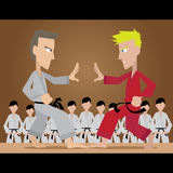 The duel. Vector illustration of a duel between martial artist Stock Photography