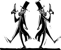 Dueling. Two Victorian gentlemen with pistols in a dual Royalty Free Stock Images