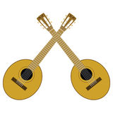 Dueling banjos. Illustration of two crossed brown banjos Stock Images