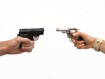 Dueling handguns Stock Photos