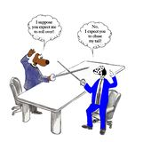 Dueling pets insult each other. Dog executives are in a duel stock illustration