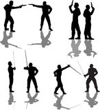 Duelist Silhouettes Stock Images