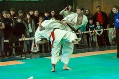 Duell av karatepraktiker Royaltyfri Bild