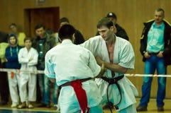 Duell av karatepraktiker Royaltyfria Foton