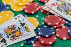 Duell av poker Royaltyfri Foto