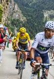 Duell på Alpe d'Huez Arkivfoton