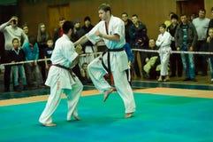 Duell von Karatepraktikern Lizenzfreies Stockbild