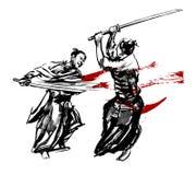 Duello del samurai Immagine Stock
