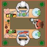Duelo culinário dos cozinheiros na cozinha Fotografia de Stock