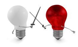 Duelo de combate vermelho da ampola com as espadas contra o branco um ilustração do vetor