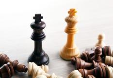 Duelo del ajedrez de dos reyes y de otros pedazos de ajedrez imagenes de archivo