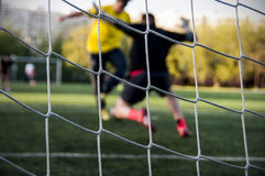Duelo do futebol Fotografia de Stock Royalty Free