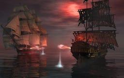 Duelo en el mar Foto de archivo libre de regalías