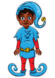 Duende. Ajudante de Santa, terno azul desgastando Ilustração Royalty Free