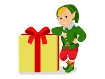 Duende bonito do Natal dos desenhos animados do vetor com caixa de presente Fotografia de Stock