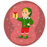 Duende bonito do Natal dos desenhos animados do vetor com caixa de presente Imagem de Stock