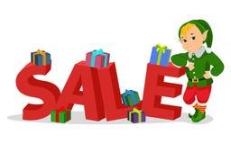 Duende bonito do Natal dos desenhos animados do vetor com venda Fotografia de Stock