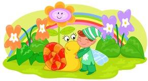 Duende com caracol bonito e flores Imagem de Stock