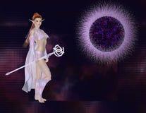 Duende con el fondo púrpura de Sun Imagen de archivo