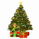 Duende con los presentes y el árbol Imágenes de archivo libres de regalías