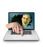 Duende de Internet con el finger en el botón Imágenes de archivo libres de regalías