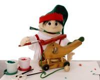 Duende de la marioneta en el taller de Santa Imagen de archivo