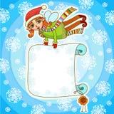 Duende de la Navidad con el cartel Imagen de archivo libre de regalías