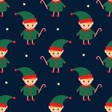 Duende de la Navidad con el modelo inconsútil del bastón de caramelo stock de ilustración