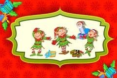 Duende de la Navidad con el regalo Fotos de archivo libres de regalías