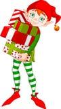 Duende de la Navidad con los regalos Imágenes de archivo libres de regalías
