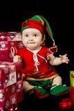 Duende de la Navidad de la niña Foto de archivo libre de regalías
